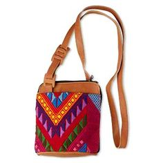 Purse, leather and cotton, multicolored, 8 x 7-1/4 inch with 54-inch strap. Sold individually.