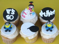 fluffi, minion cupcakes, despicable me 2, cupcak creation, hello cupcak, cupcak disney, snack foods
