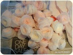 salvag whimsi, paper roses, dye, church, paper flowers, coffee filter flowers, roll paper, coffee filters, coffe filter