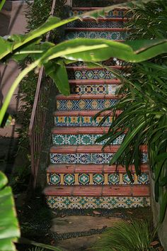 Exterior stairs detail with saltillo paver treads and handmade tile risers.  #staircase #stairs #tile #riser #Mexican #Spanish #Hacienda