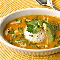 We love this bursting with delicious flavor soup. Curried Coconut Pumpkin Soup w/ Chicken and Jasmine Rice