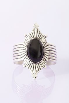 Diamond Stone Cuff in Black