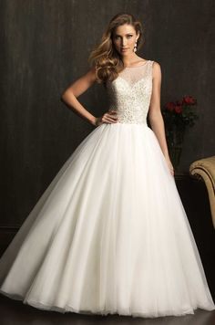 Sheer + bling princess gown ~ Allure Bridals 2014