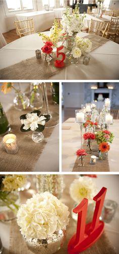 burlap and orange wedding, idea, neutral decor, tabl number, colors