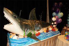 creatur cake, birthday parti, celebration cakes, birthday idea, groom cake, birthday celebrations, shark cake