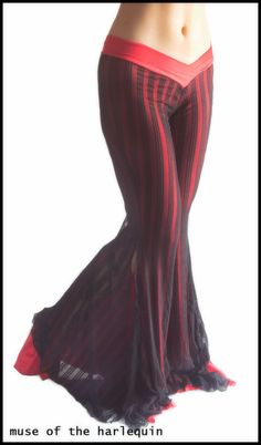 Sexy Black Red Stripes Gothic Tribal Belly Dance Pant Hoop Costume Lace Go Go