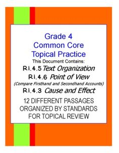 (30+ PAGES OF TOPICAL COMMON CORE GRADE FOUR READING PRACTICE) 12 passages for topical Common Core practice combined into one document for a huge value! The information in this document is aligned to specific Common Core grade level standards and the Common Core Publisher Specification documents.$