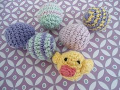 Me and Maya: Crochet chicken and striped Easter eggs