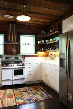 open shelves, rug, cabin kitchens, bathrooms decor, design kitchen, painted cabinets, bungalow, kitchen designs, open shelving