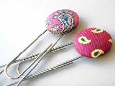 Recycled Necktie Paperclip / Bookmark Set of 2 - Pink Paisley by Ascot Handbags, via Flickr