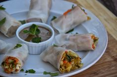 Fresh Cabbage & Herb Spring Rolls with Sunbutter Honey Dipping Sauce   The Tasty Alternative
