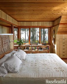 """For an air of calm seclusion, """"almost everything in the master bedroom is hushed,"""" Markham Roberts explains."""