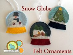 unbreakable felt snow globe ornaments