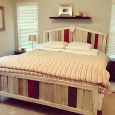 Discarded wood pallets, painted, stained and nailed to plywood were crafted into a bed frame as a surprise wedding anniversary present by this entrant in our 2013 TOH Dont Buy It, DIY It! contest. | For more DIY projects, visit Weekend Projects Pinterest board. | thisoldhouse.com
