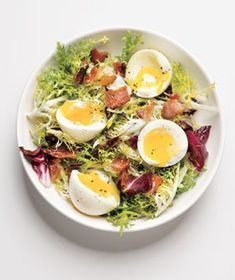 Friseé With Bacon and Soft-Cooked Eggs from realsimple.com #myplate #protein #vegetables