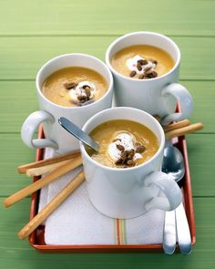 Pureed Butternut Squash Soup - Martha Stewart Recipes #modernthanksgiving Every year. A Starter.