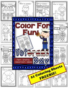 FREE Veterans Day! Color For Fun Printable Coloring Pages! #TPT #FREE