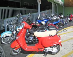 This is my Vespa parked with all the Harleys :)  Bike parking!