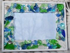 Handmade sea glass mosaic frame by MosaicTreasureBox on Etsy,