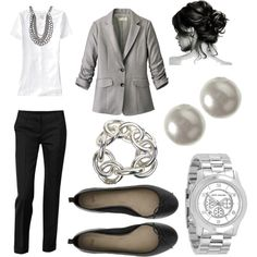None of the jewelry except the pearl studs. Rather have a gold boyfriend watch and no necklaces or bracelets. Statement necklaces are ugly. boyfriend watch outfit, simple work outfits, casual interview outfit, work wear, work outfit blazer, fashion interview outfit, casual outfits, interview outfits, work interview outfit