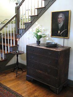 stair, dresser, foyer, hallway