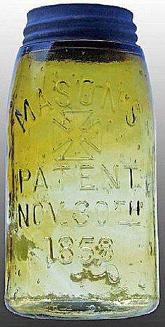 Mason's, Cross, Patent Nov 30th 1858, Golden Yellow, Swirled, Quart.A quart golden yellow swirled Mason's Cross Patent Nov 30th 1858 glass fruit or canning jar