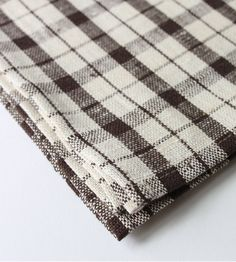 Linen Dish Towel - Brown Check - Brook Farm General Store