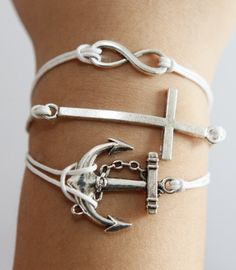 Karma cross anchor silver bracelet white wax cord bracelet in any size bracelet. $4.66, via Etsy.
