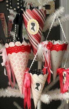 Valentine's diy paper cones