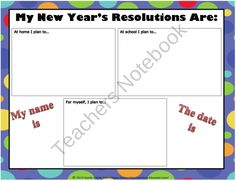 New Years Resolutions product from The-Book-Fairy-Goddess on TeachersNotebook.com