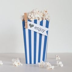 Popcorn Boxes - Navy Stripe for $12.00 from The TomKat Studio Party Shop