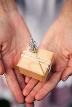 Lavender sprig tied up with twine wood favor or ring box #wedding #packaging