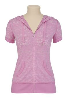 Burnout Short Sleeve Zip Up Hoodie - maurices.com