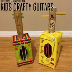 """Make a """"guitar"""" from a tissue box. This looks like a fun way for kids to be creative!"""