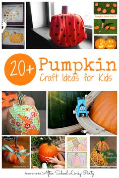 20+ Pumpkin Craft Ideas for Kids featured at the After School LInky Party at The Educators' Spin On It.  Ton of Pumpkin Activities for kids this month!