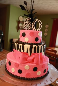 2 tier zebra cake | the cake box: Zebra stripe & hot pink 60th birthday cake