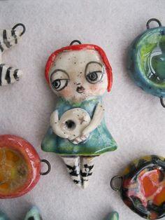 ceramic pendant, handmade, fired 5 times - by Sunny Carvalho