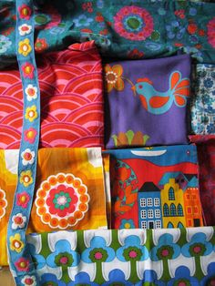 lovely vintage fabrics from my rainbow vintage home