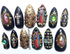 Studded cross nails with virgin guadalupe stones, studs and spikes false/fake 3D nails japanese gel nail art mexican on Wanelo #nails #3dnails