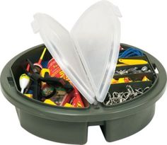 """""""I like using this when I am fishing for specific species of fish and don't need a lot of different tackle. I can also sit on the lid when I get tired of standing and not have to take a chair. I only wish there was an option to divide the sections. Over all, I am very pleased with my purchase."""" -review of the Plano Bucket-Lid Storage Box"""