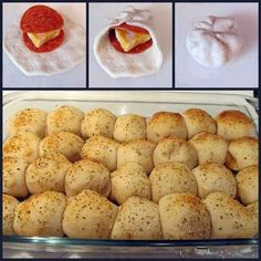 **PIZZA BALLS! 3 cans Pillsbury Buttermilk Biscuits (10 per can), 56 pepperoni slices, block of Colby cheese, 1 beaten egg, Parmesan, Italian seasoning, Garlic powder. Cut the cheese into 28 squares. Flatten a biscuit out and stack pepperoni and cheese on top. Gather up the edges of the biscuit. Line up the rolls in a greased 9x13 in. pan. Brush with beaten egg. Sprinkle with parmesan, Italian seasoning and garlic powder. Bake at 425°F for 18-20 minutes. **Use pizza sauce for dipping
