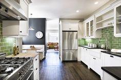 green tile, back splashes, black walls, floor, color, green kitchen, subway tiles, white cabinets, white kitchens