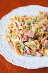 Peas Ham and Creamy Noodle Casserole