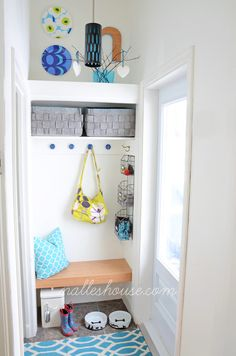 We love everything about this mudroom reveal! Utilize a small closet by turning it into a mini mudroom.