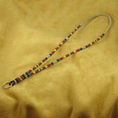Silver Beaded Lanyard Native American Beadwork