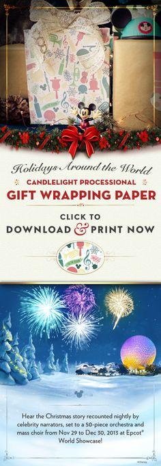 DIY Epcot Candlelight Processional Wrapping Paper #Christmas #WaltDisneyWorld