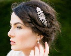 Rhinestone, Pearl Comb, Victorian Style Ivory Pearl Comb, Vintage Style Rhinestone Comb, Ellen