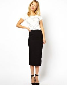 Midi pencil skirt.