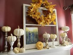 Mantel  Decorations, all white pumpkins