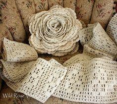 Giant Crochet Lace Rose lace rose, lace flowers, pillow, giant crochet, vintage lace, crochet lace, vintage crochet, filet crochet, thread crochet